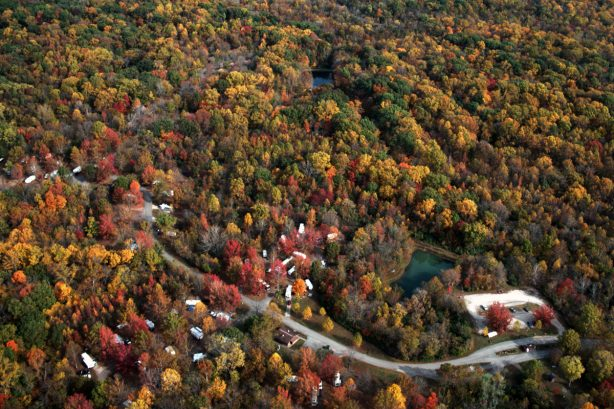 Aerial view of Harmonie State Park Campground