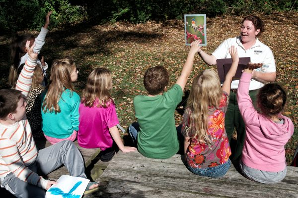 Naturalist teaches kids about the flora and fauna at the Nature Center at Harmonie State Park.