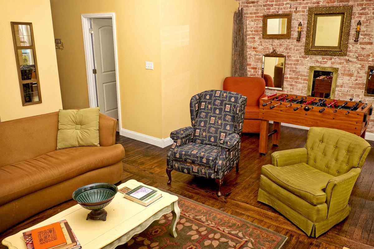 Loft on Main Living Room and Foosball table