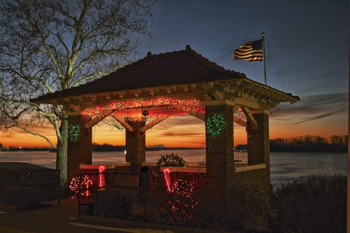 Mount Vernon's Sherborne Park bandshell at sunset.