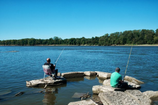 Fishing at the Old Dam in Posey County near New Harmony, Indiana.