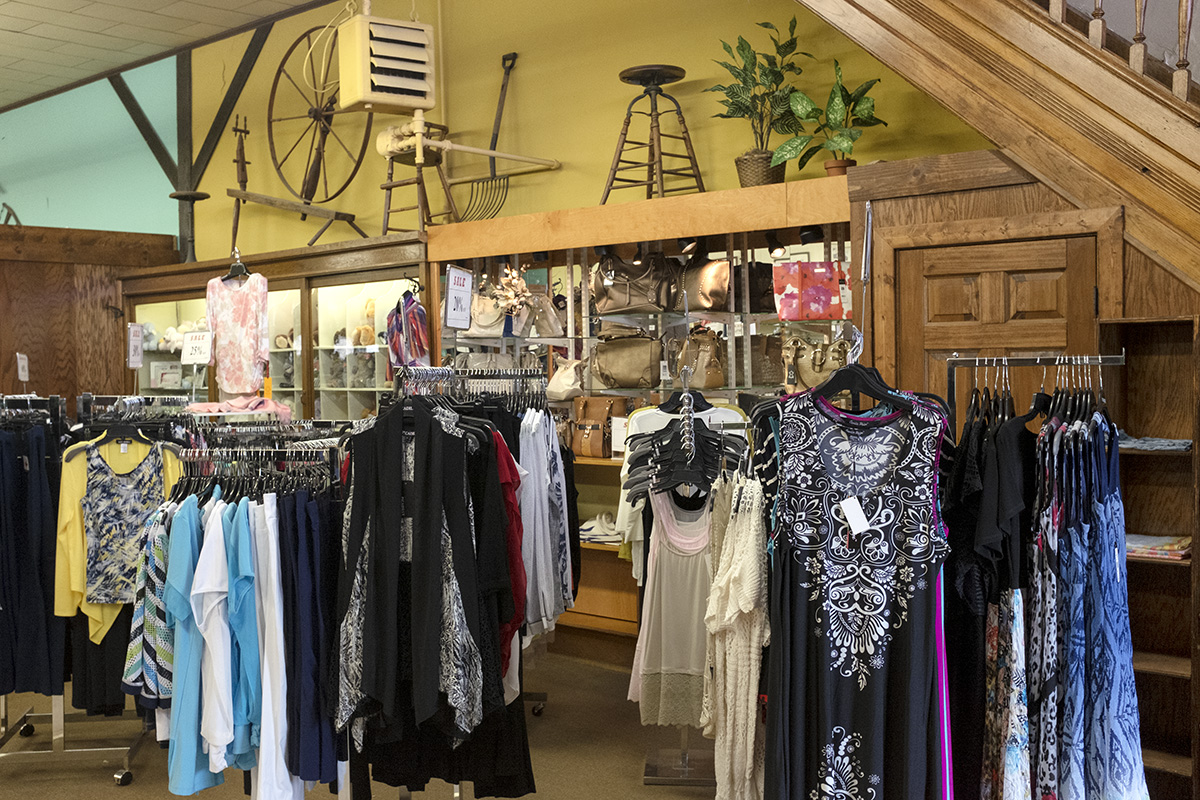 Women's clothing and antique fixtures