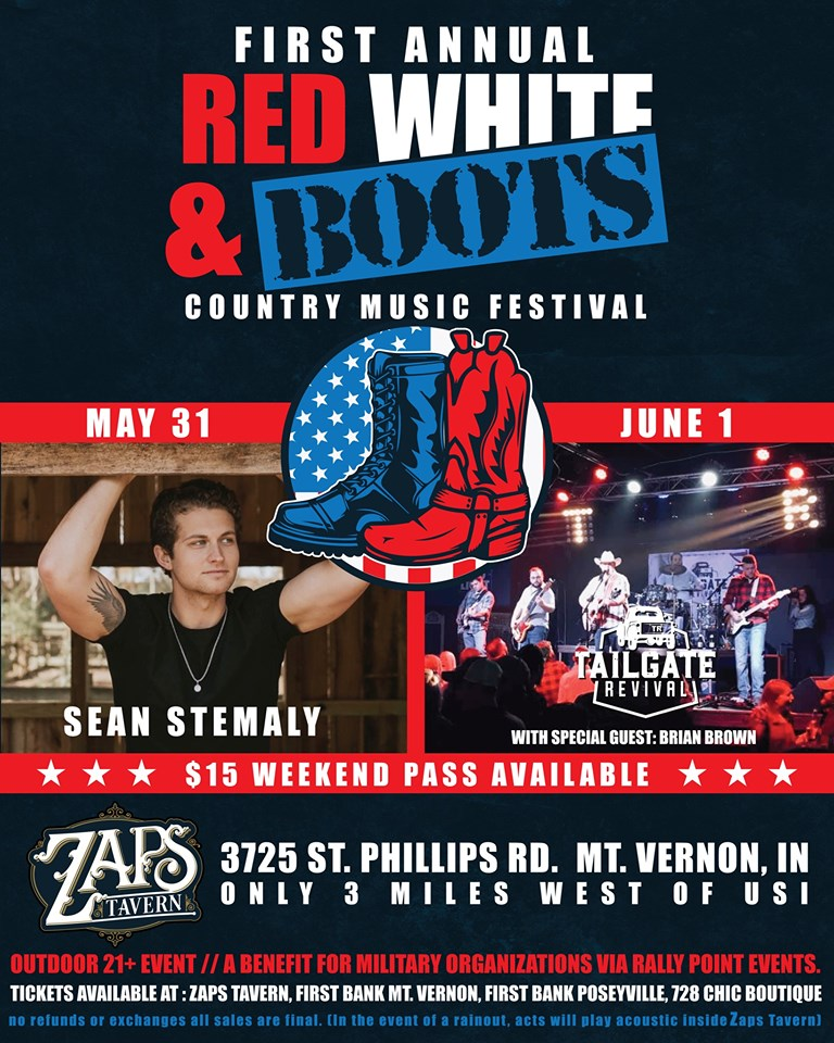 Zaps Tavern 1st Annual Red, White & Boots Country Music