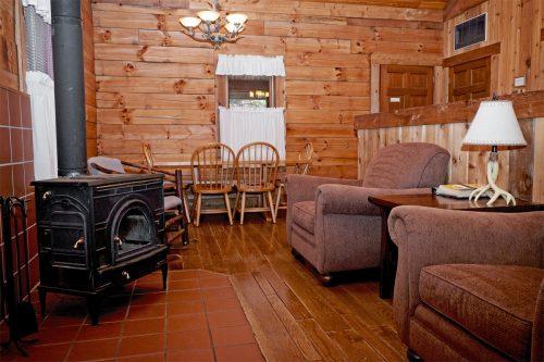 Cabin interior in Harmonie State Park