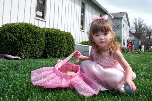 Girl hunting Easter Eggs