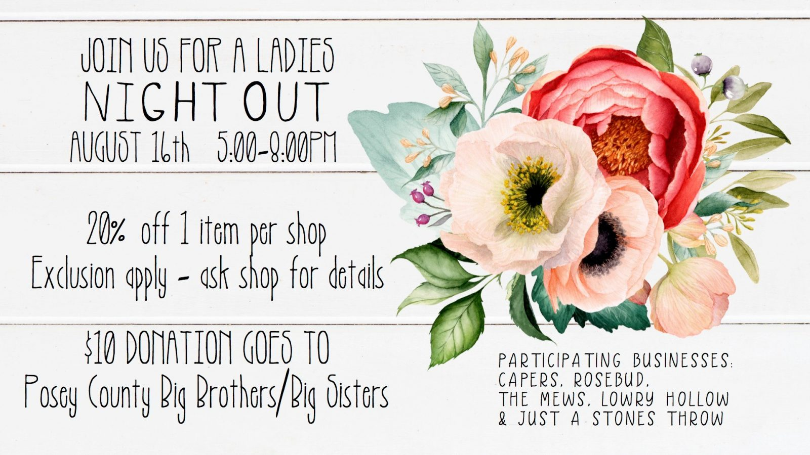 Ladies Night Out Posey County Indiana Shopping Event